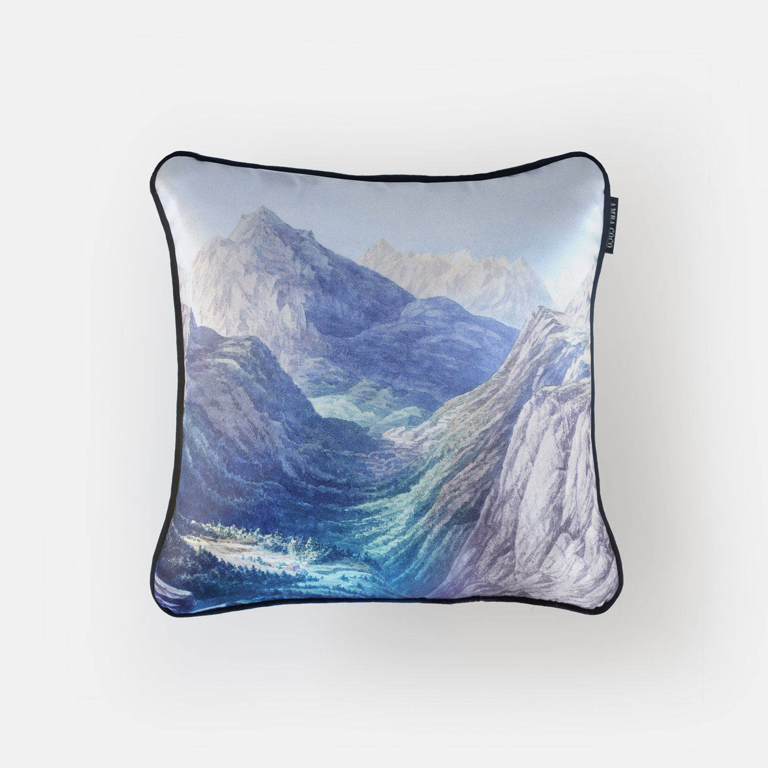 Mountain valley silk throw pillow