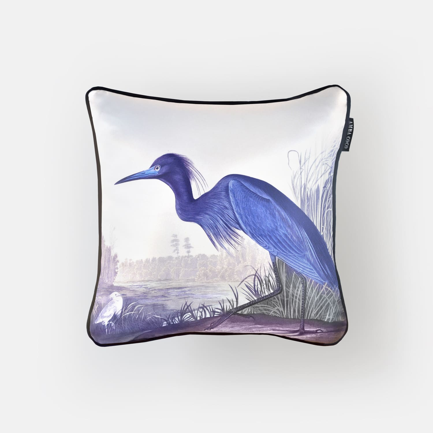 Blue Heron Silk Throw Pillow
