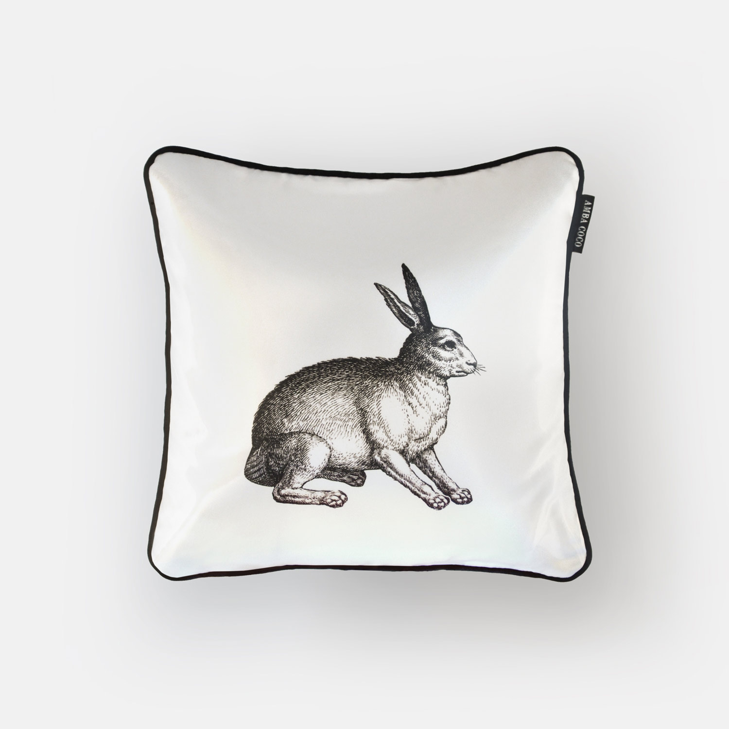 Fox and Rabbit Silk Throw Pillow