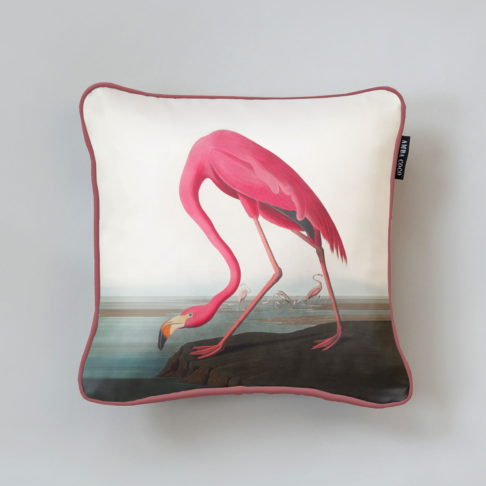 Audubon Flamingo Silk Throw Pillow