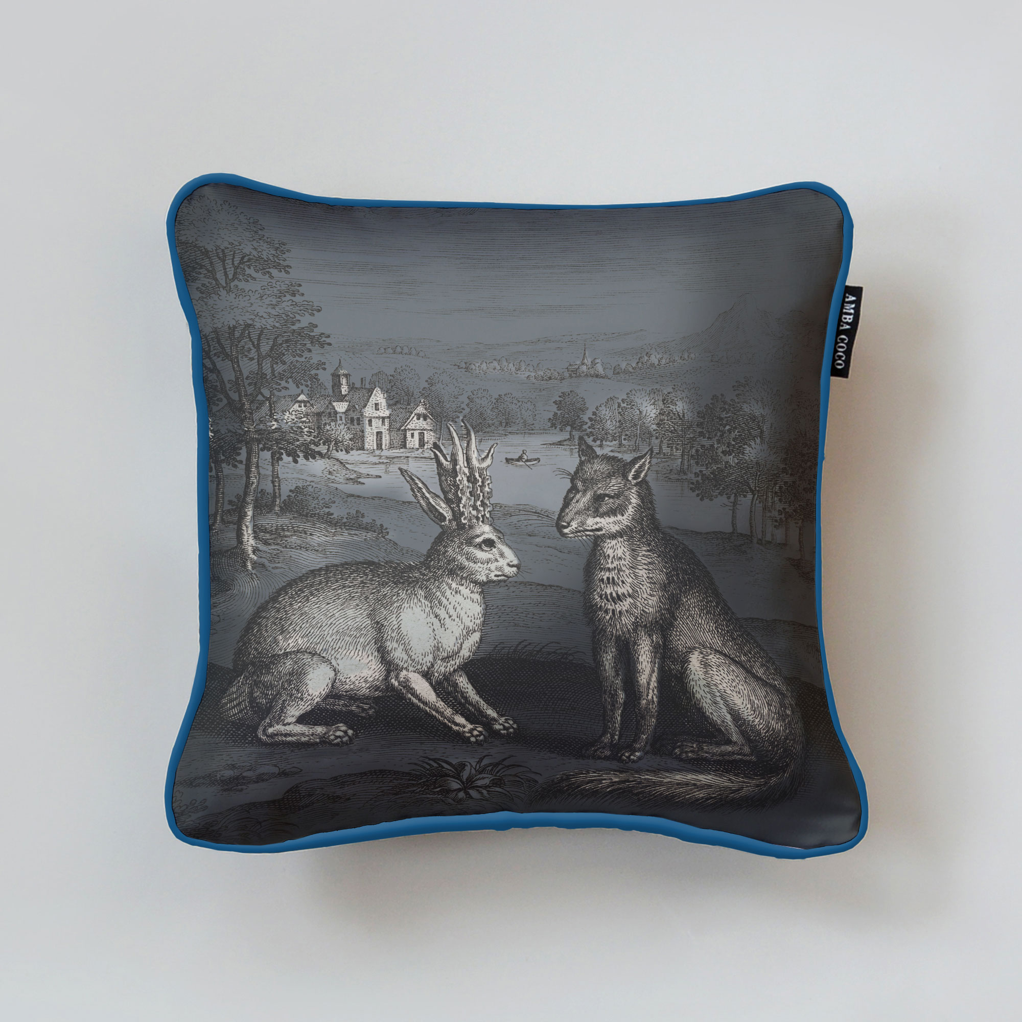 Collaert Fox & Rabbit Silk Throw Pillow