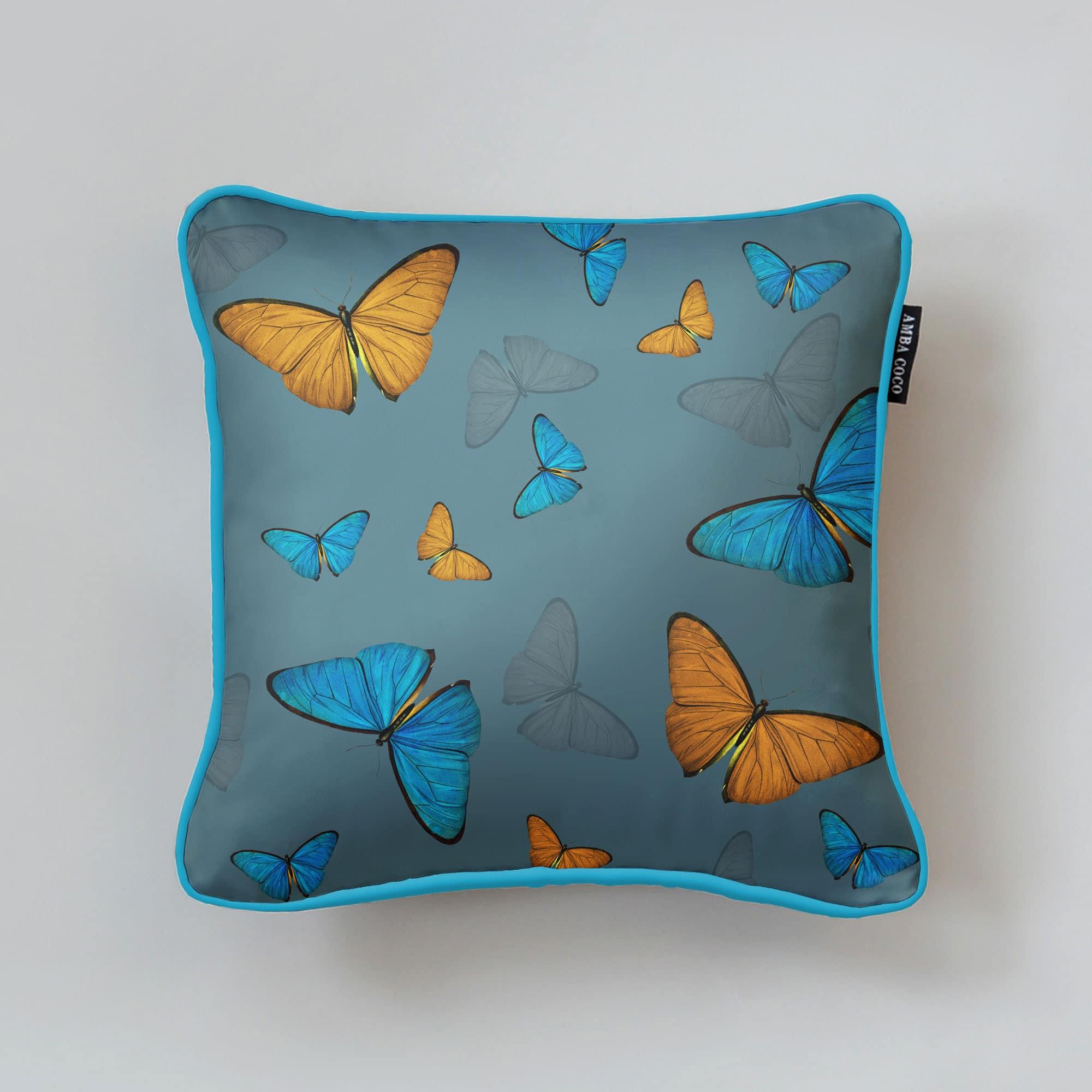 Butterflies Pattern Blue Silk Throw Pillow
