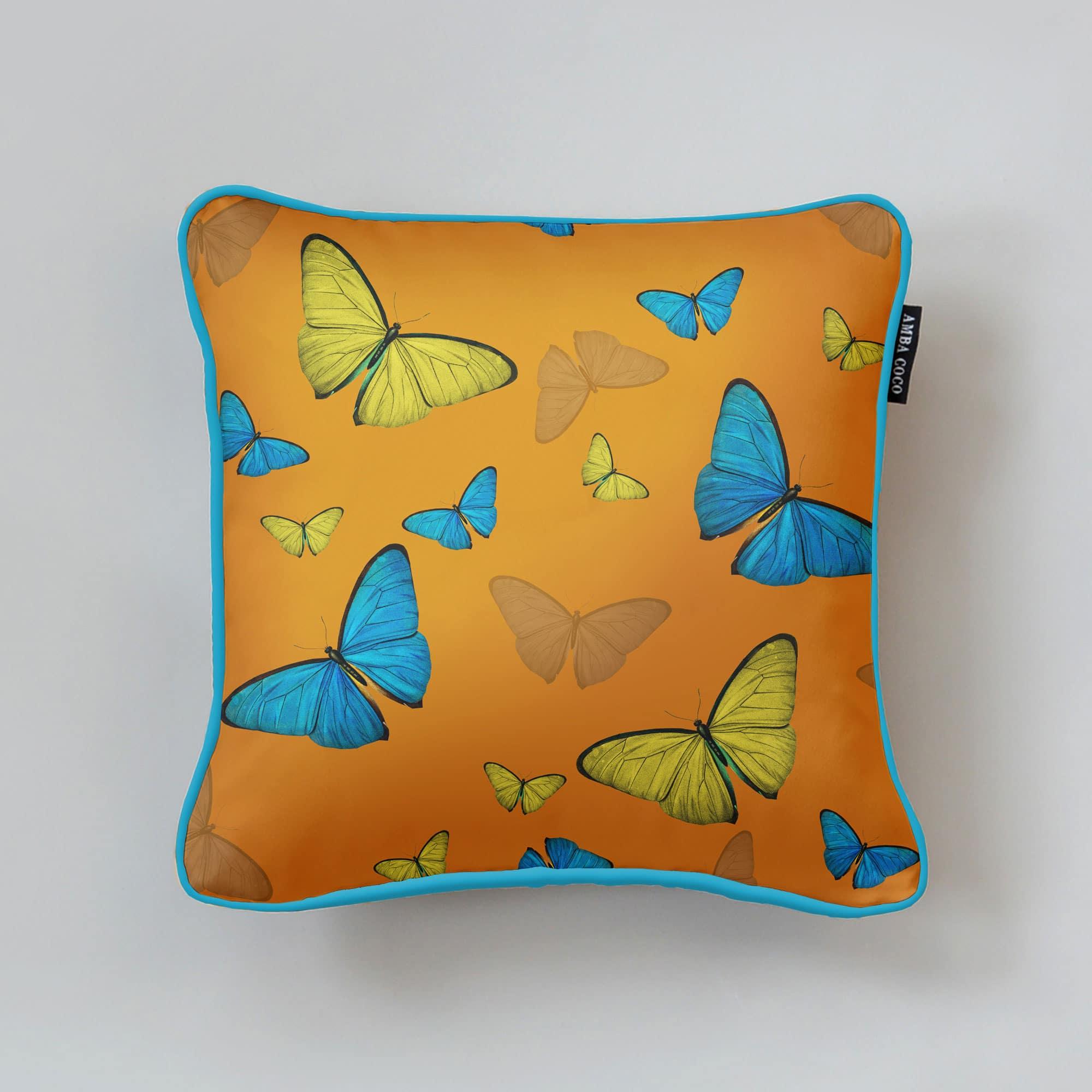 Butterflies Pattern Orange Silk Throw Pillow
