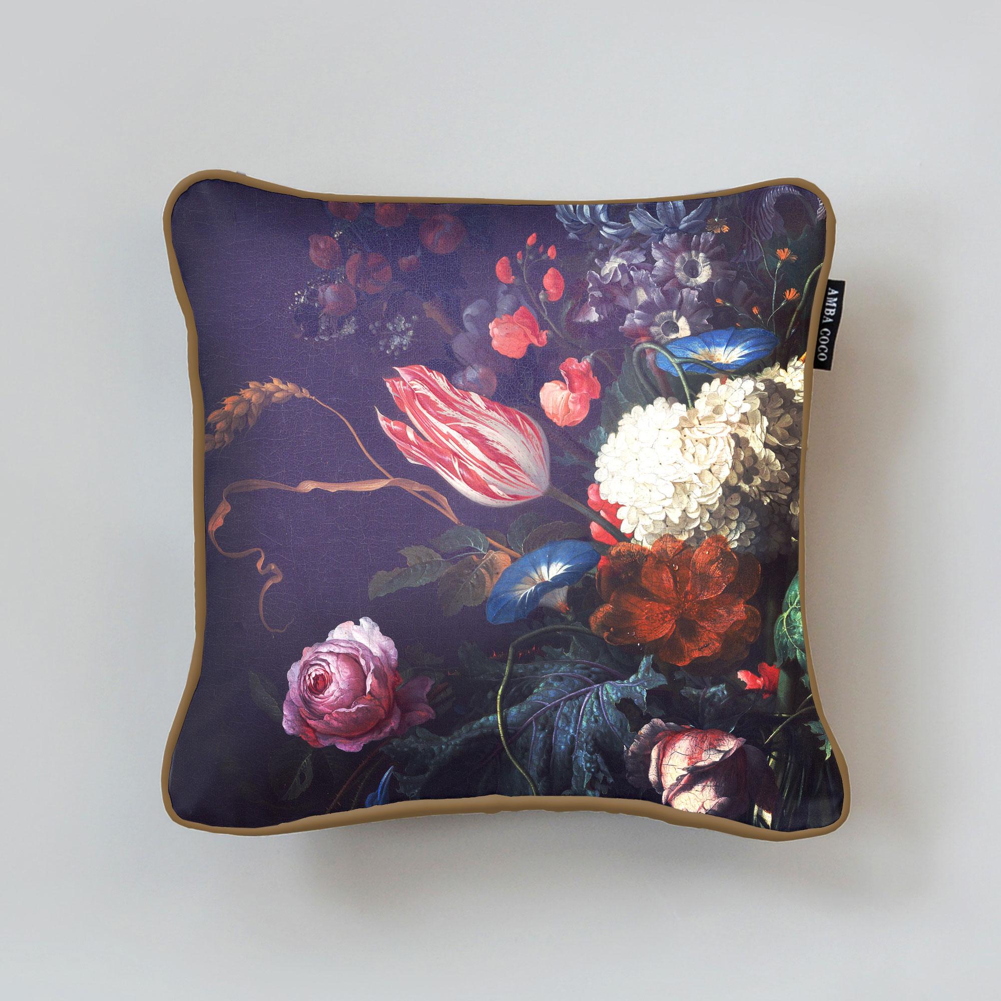 Floral De Heem A Silk Throw Pillow
