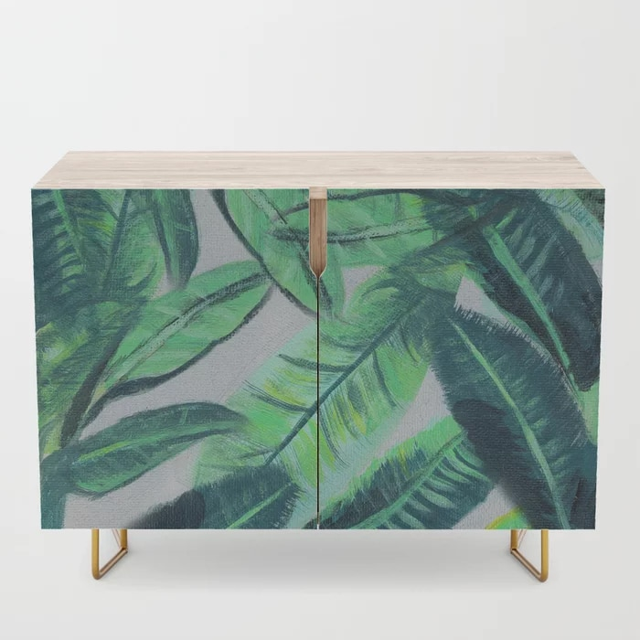 Banana Leaf Acrylic Painting Pattern Green Botanical Leaves Credenza