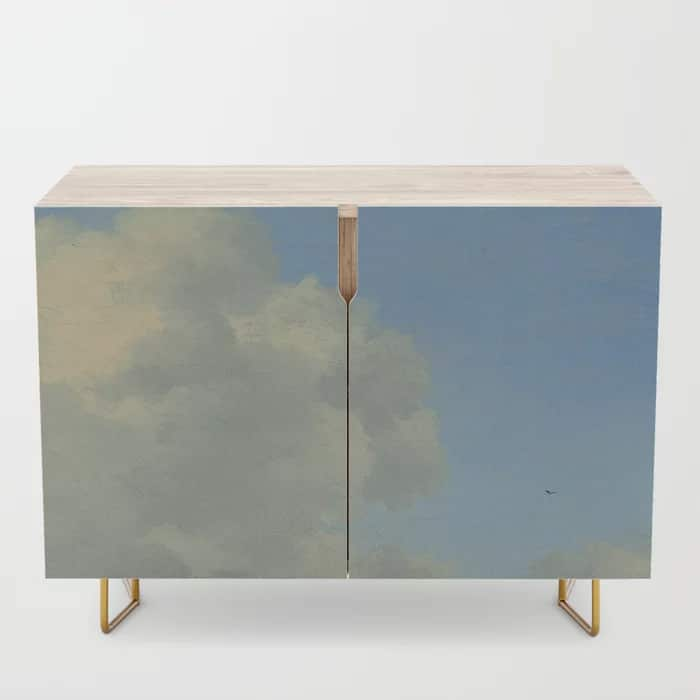 Dreamy Clouds Painting Blue White Credenza