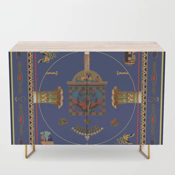 Egyptian Decor Objects Blue Yellow Pattern Credenza