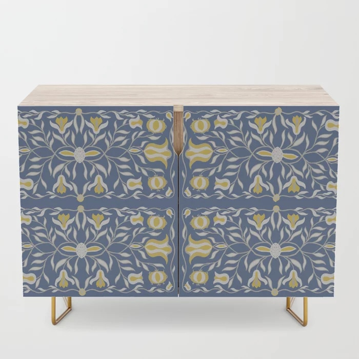 Floral Illustration Blue Yellow Credenza