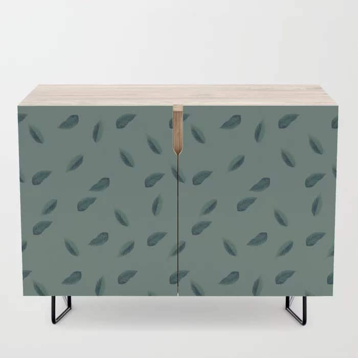 Green Leaves Pattern Illustrated Credenza