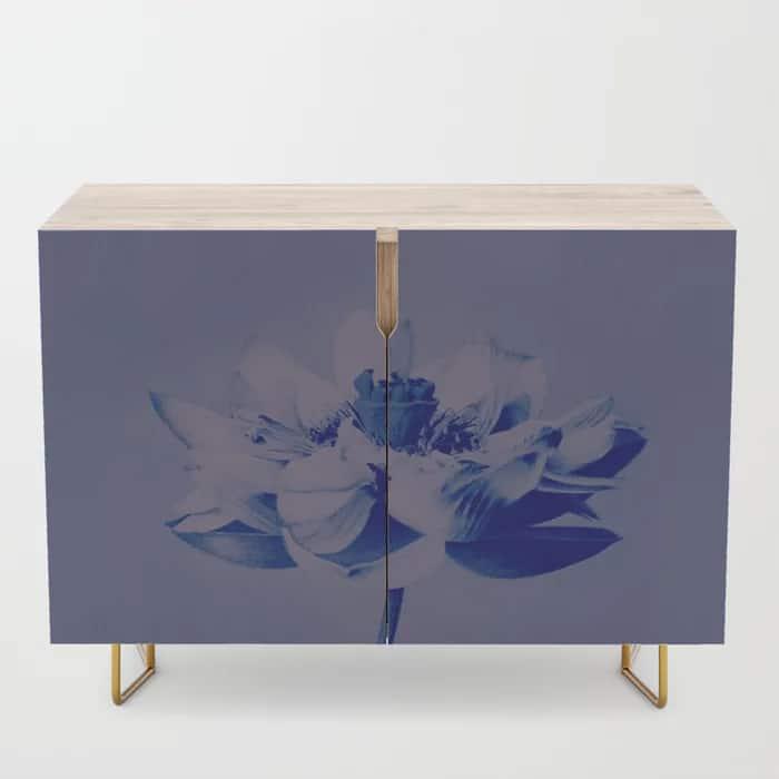 Lotus Flower Blue Credenza