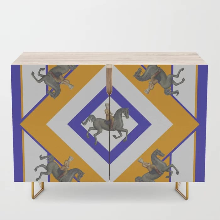 Sandler Toy Horses Pattern Blue Yellow Gold Credenza