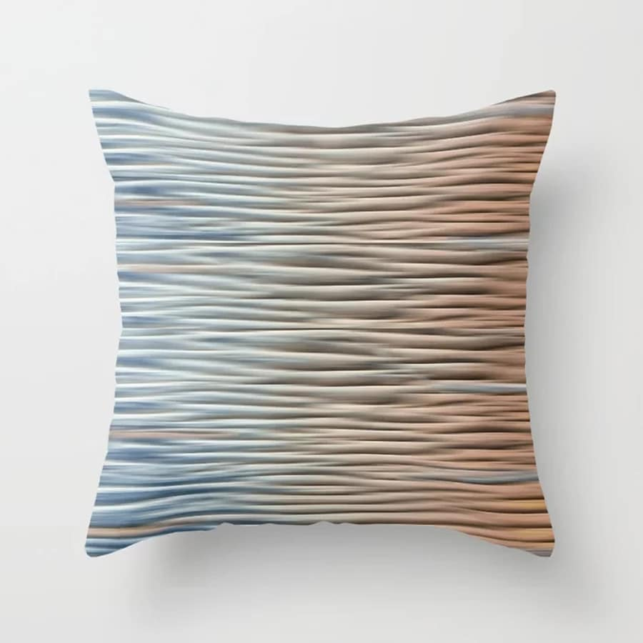 Abstract Lines Sand Ridges Golden Aqua Throw Pillow