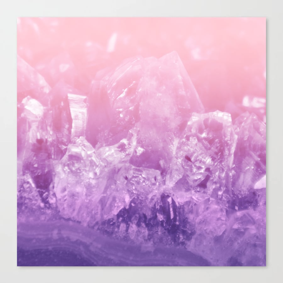Amethyst Gemstone Crystal Purple Pink Ombre Canvas Print