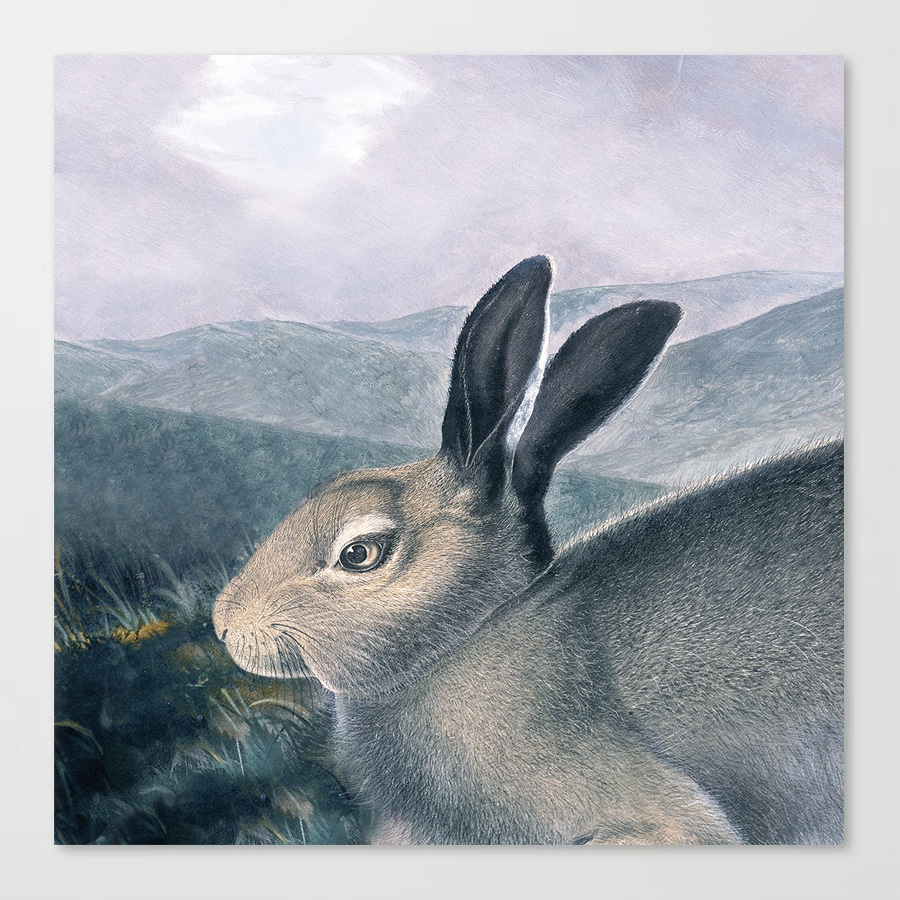 Arctic Hare Lilac Hills Vintage Painting Canvas Print