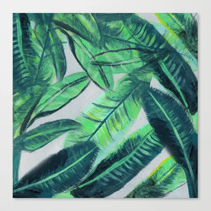 Banana Leaf Acrylic Painting Pattern Green Botanical Leaves Canvas Print