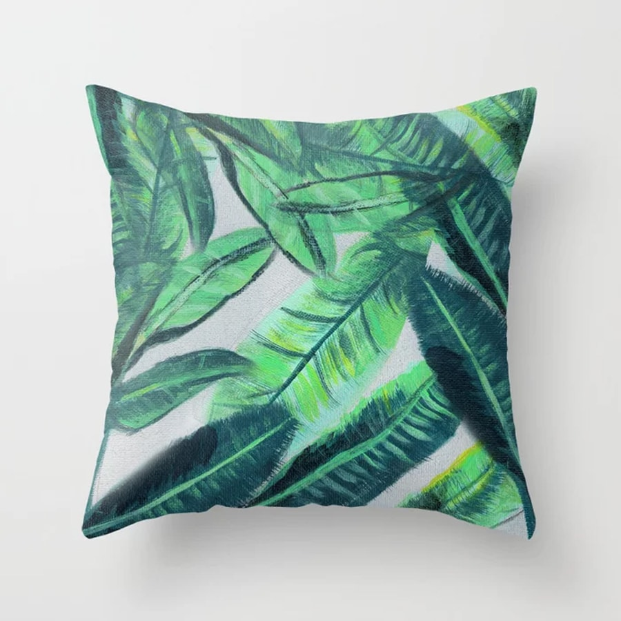 Banana Leaf Acrylic Painting Pattern Green Botanical Leaves Throw Pillow