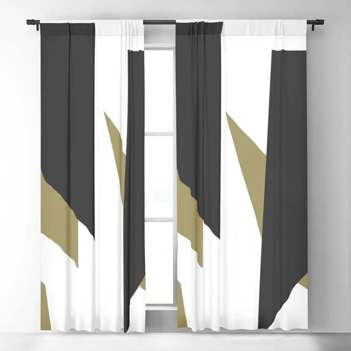Black Gold Shard Cascade Pattern White Luxe Blackout Curtain