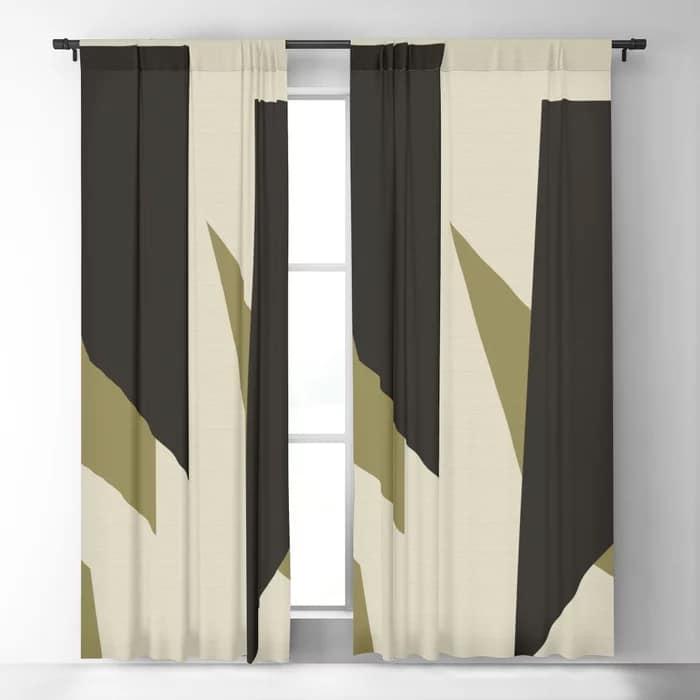 Black Gold Shard Cascade Pattern Linen Beige Cream Luxe Blackout Curtain