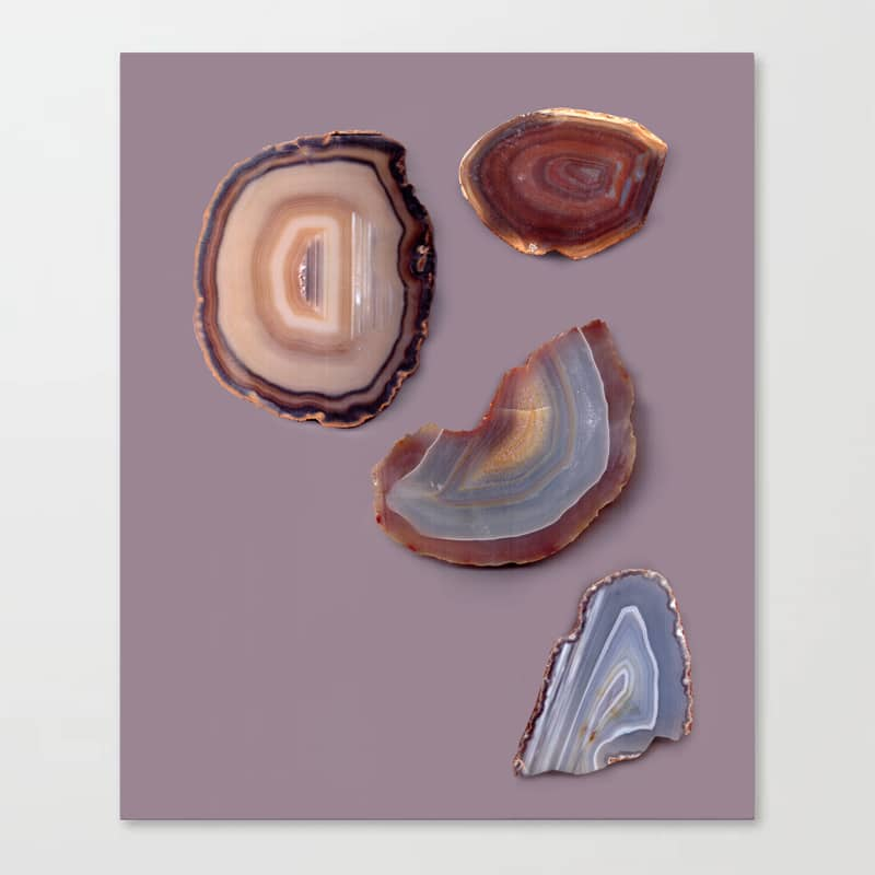 Brazilian Agates Abstract Art Luxe Gemstones Mauve Canvas Print
