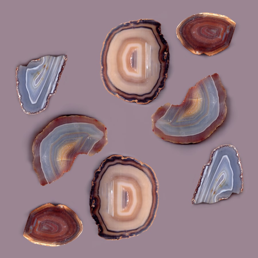 Brazilian Agates Abstract Art Luxe Gemstones Mauve Wallpaper