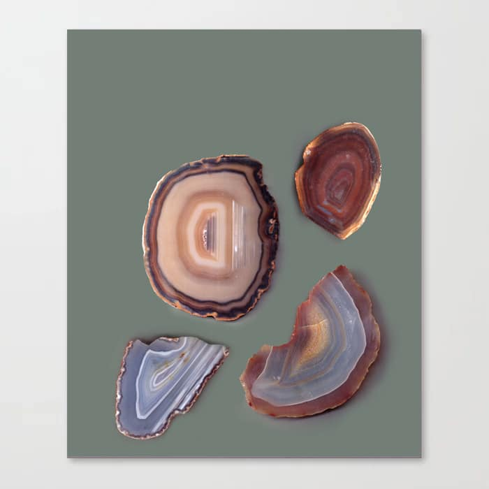 Brazilian Agates Abstract Art Luxe Gemstones Mint Green Canvas Print