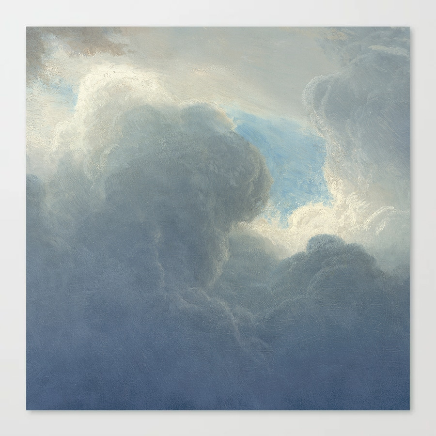 Dreamy Clouds Painted Sky Blue White Canvas Print