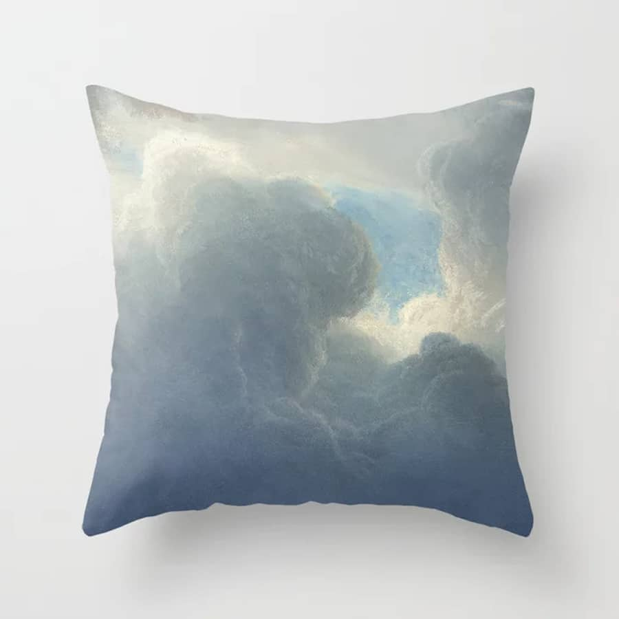 Dreamy Clouds Painted Sky Blue White Throw Pillow