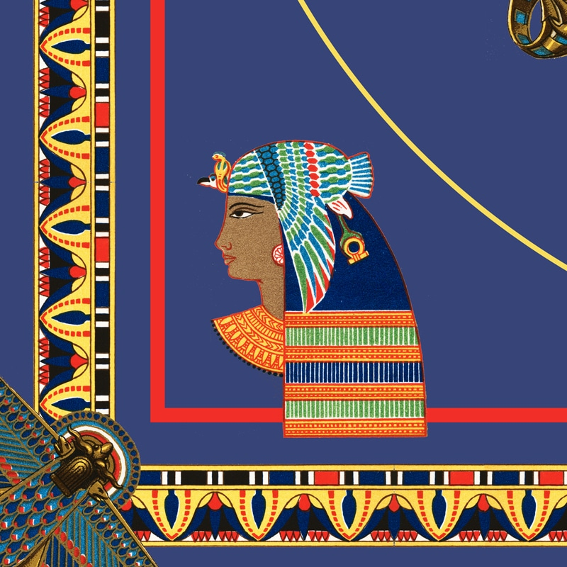 Egyptian Decor Objects Blue Yellow Pattern Canvas Print