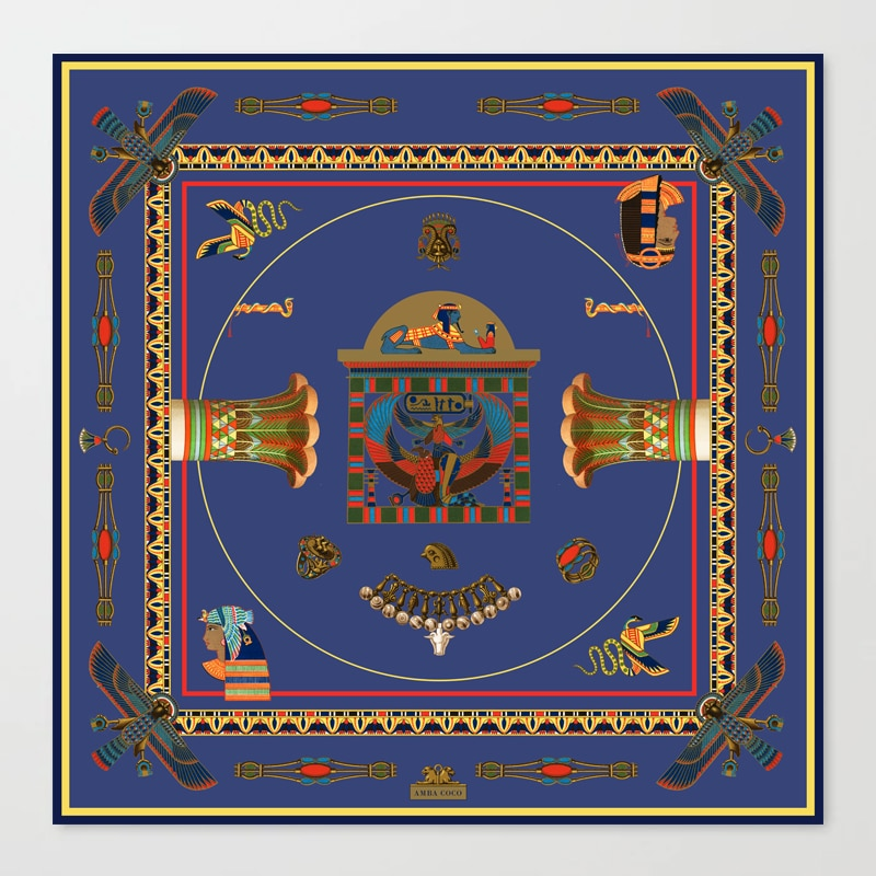 Egyptian Decor Objects Blue Yellow Pattern Canvas Print
