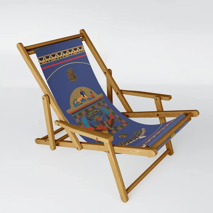 Egyptian Decor Objects Blue Yellow Pattern Sling Chair