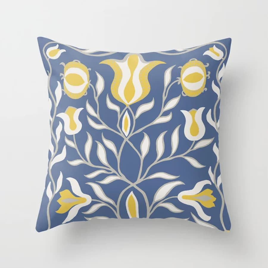 Floral Illustration Blue Yellow Throw Pillow