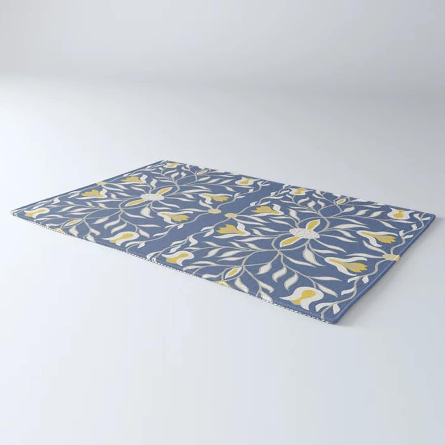 Floral Illustration Blue Yellow Rug