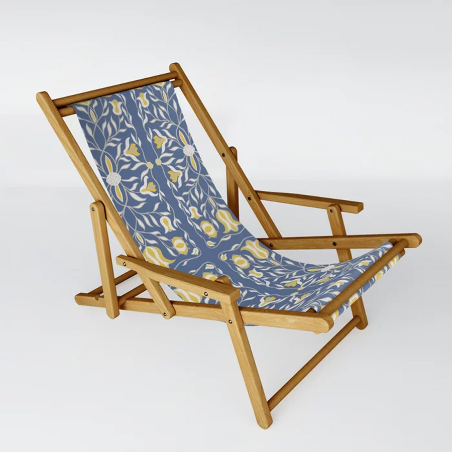 Floral Illustration Blue Yellow Sling Chair