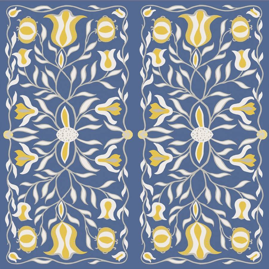 Floral Illustration Blue Yellow Wallpaper