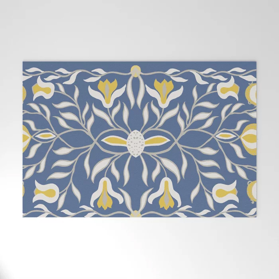 Floral Illustration Blue Yellow Welcome Mat