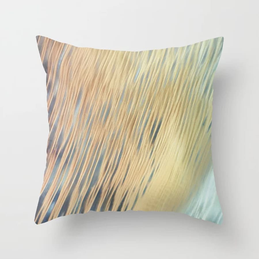 Flowing Abstract Art Lines Gold Aqua Throw Pillow