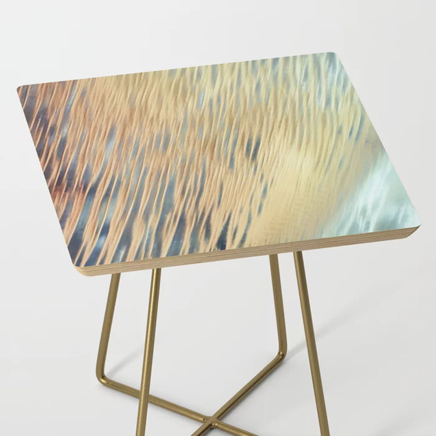 Flowing Abstract Art Lines Gold Aqua Side Table