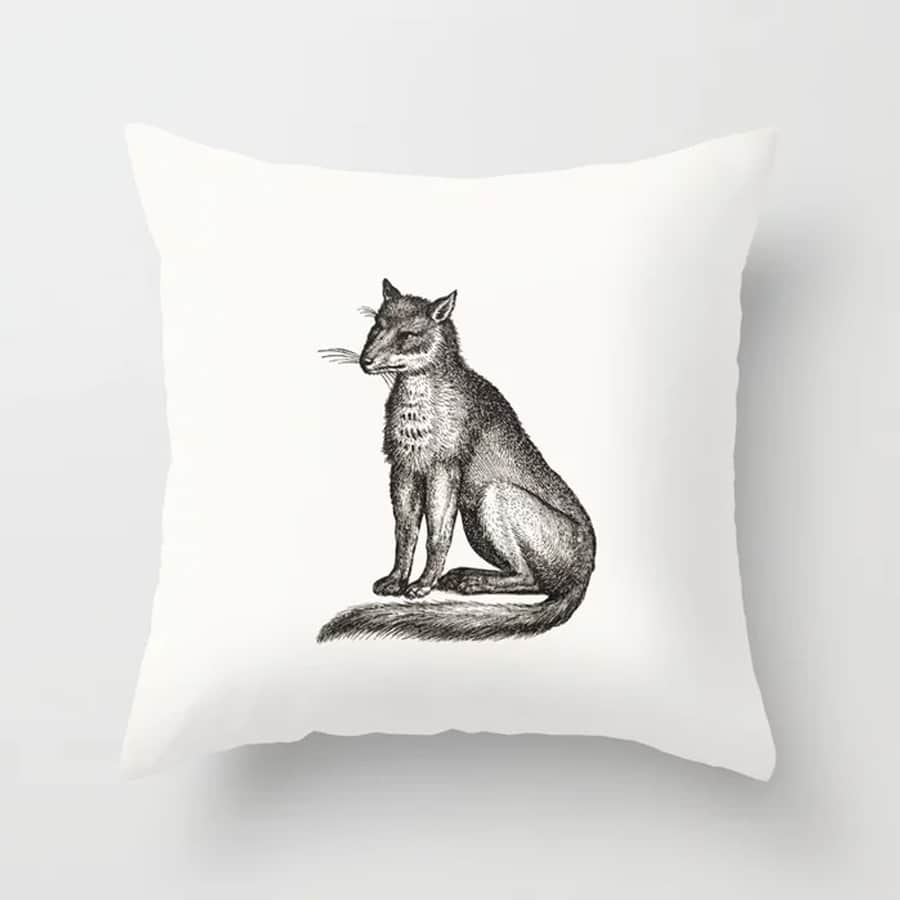 Fox Illustration Minimal Decor Black White Throw Pillow