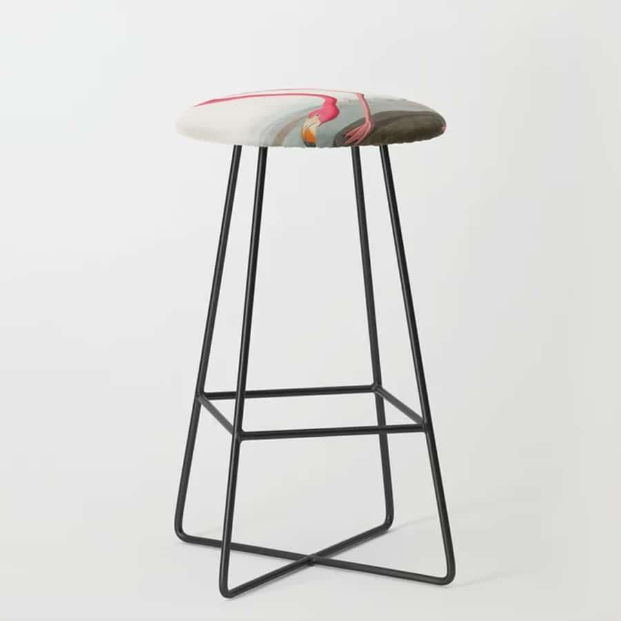 Fuchsia Flamingo Audobon Painting Bar Stool
