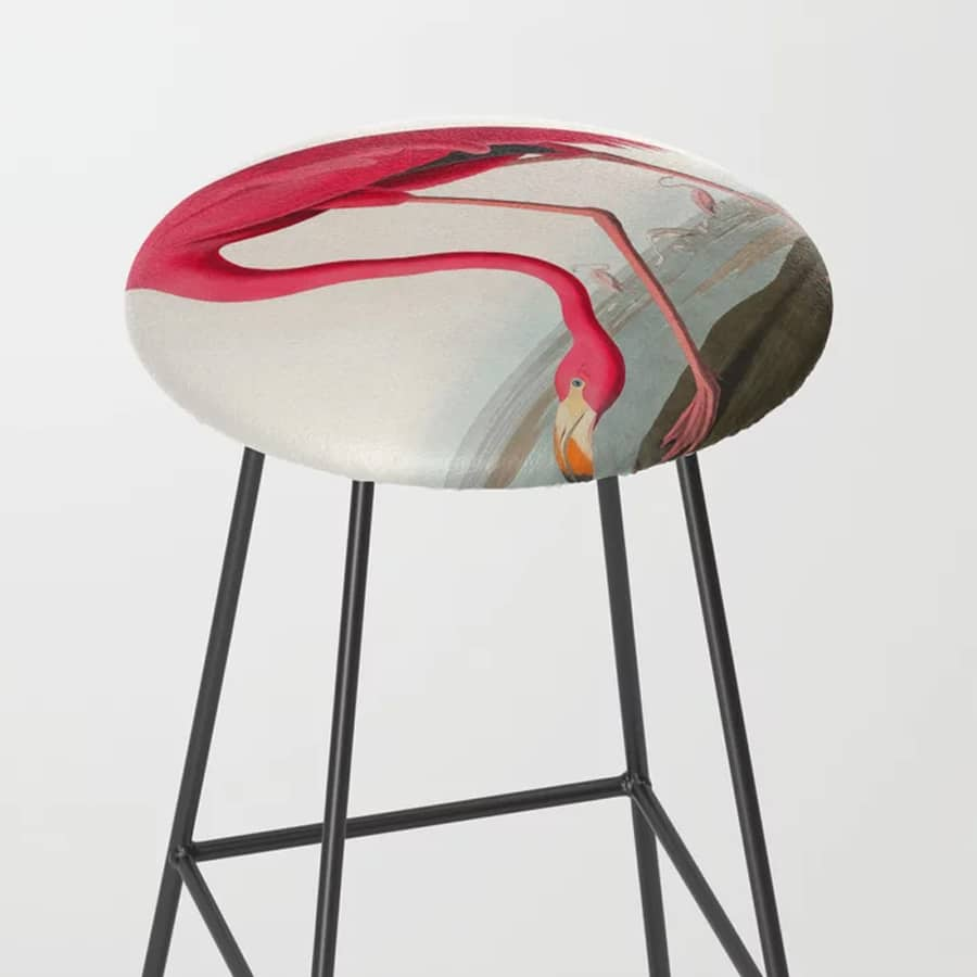 Fuchsia Flamingo Audobon Painting Bar Stool