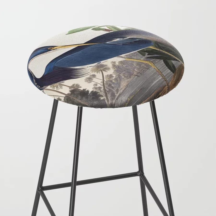 Louisiana Heron Bird Blue Yellow Painting Bar Stool