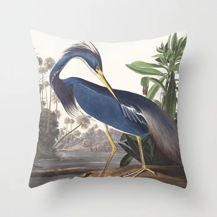 Louisiana Heron Bird Blue Yellow Painting Throw Pillow