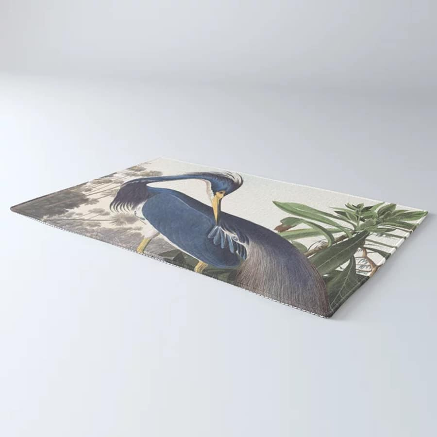 Louisiana Heron Bird Blue Yellow Painting Rug