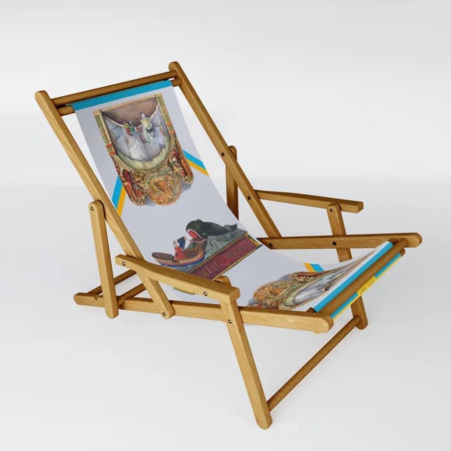 Nostalgic Pattern Vintage Toys Blue Sling Chair