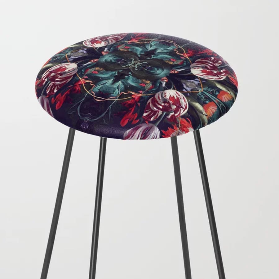 Red Floral Extravaganza Counter Stool