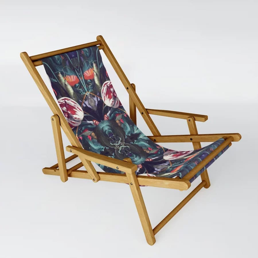 Red Floral Extravaganza Sling Chair