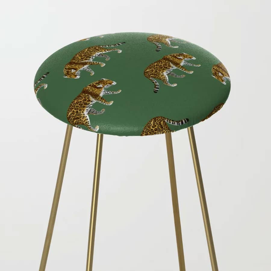 Jaguar Emerald Jade Green Pattern Wild Cats Counter Stool